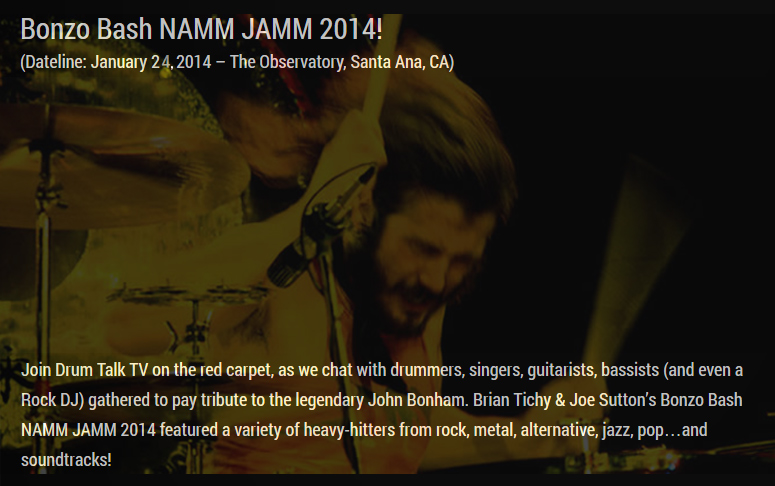 Bonzo Bash NAMM JAMM 2014 on Drum Talk TV